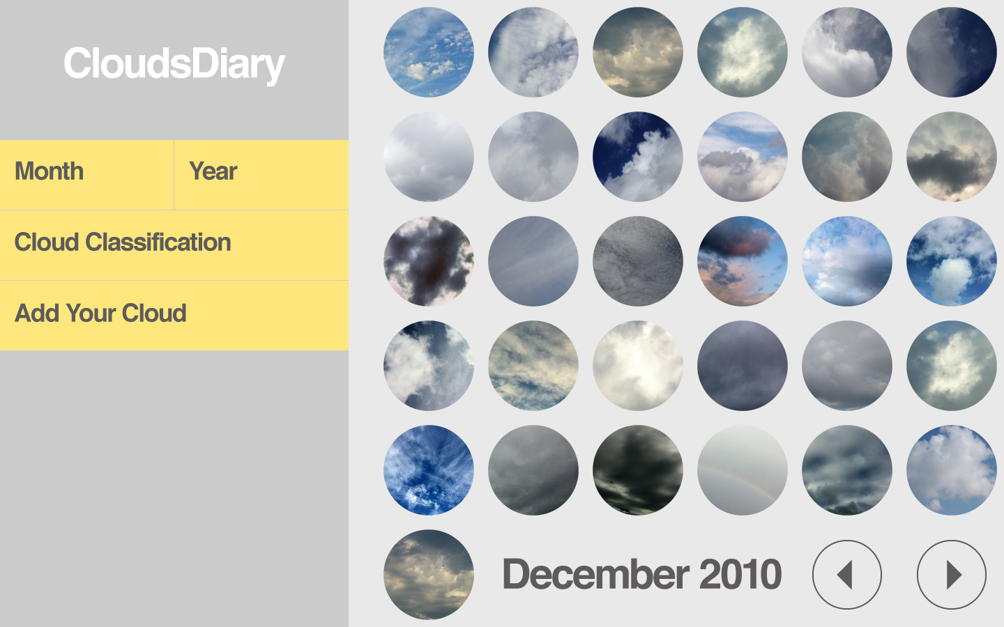 Example User Interface for Clouds Diary
