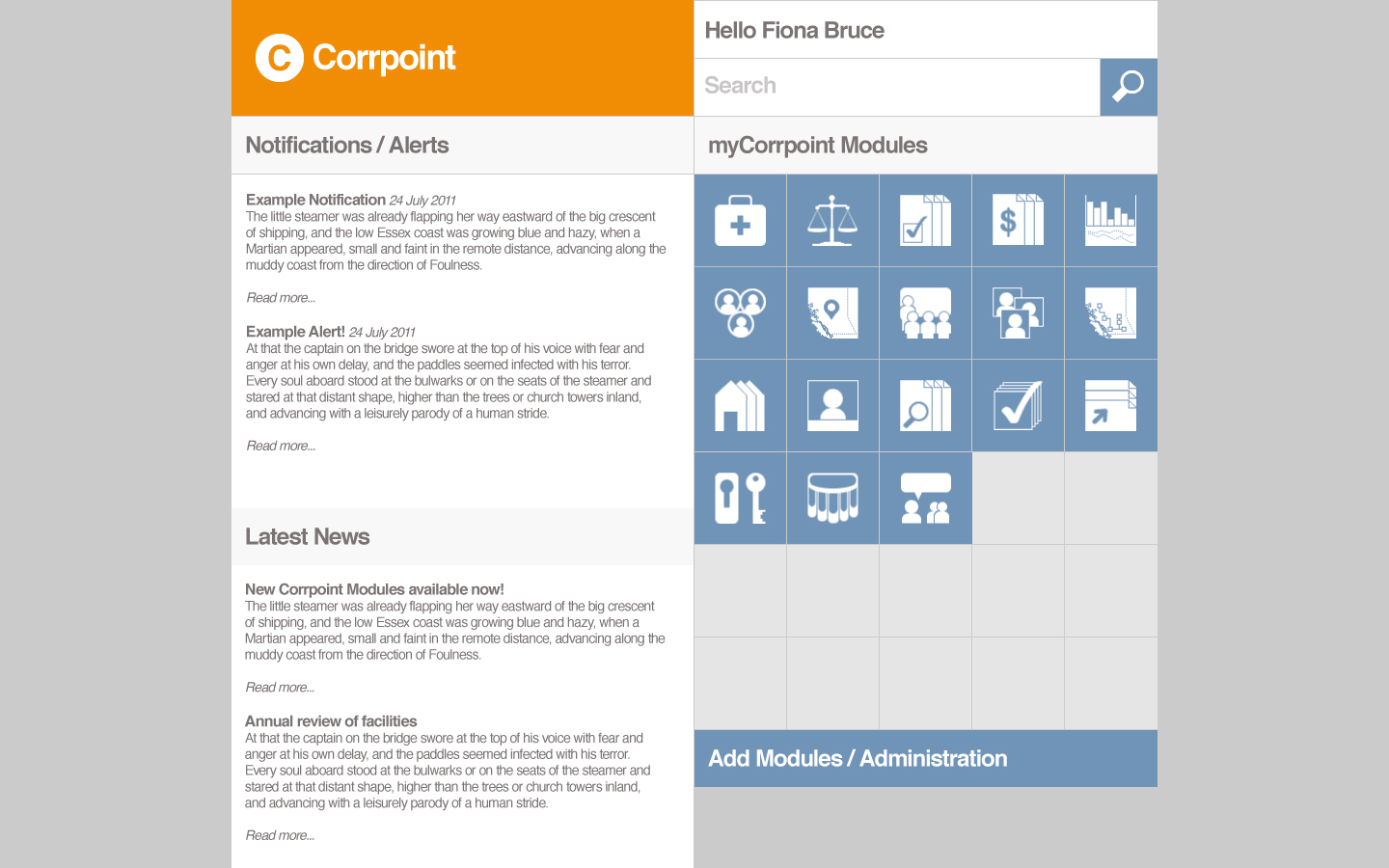 Example User Interface for Corrpoint